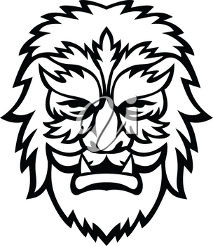 Mascot icon illustration of head of a circus wolfman or wolfboy, a circus freak or curiosity viewed from front on isolated background in retro black and white style.