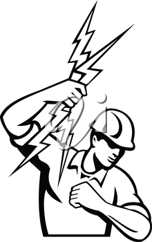 Black and white illustration of a power lineman or electrician holding throwing lightning bolt set inside circle done in retro style in isolated white background.
