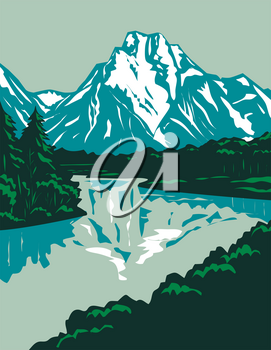 WPA poster art of the Jackson Hole valley with the peaks of Grand Teton National Park in Wyoming, United States of America done in works project administration or federal art project style.