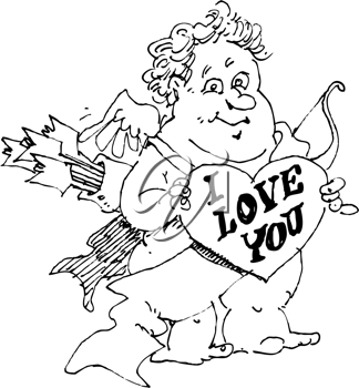 Royalty Free Clipart Image of Cupid Holding an I Love You Heart