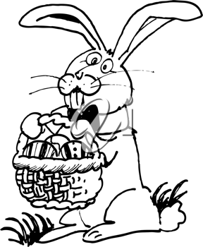 Royalty Free Clipart Image of a Bunny With a Basket of Eggs