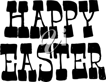 Royalty Free Clipart Image of the Words Happy Easter