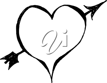Royalty Free Clipart Image of a Heart With an Arrow