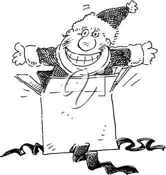 Royalty Free Clipart Image of Santa Jumping Out of a Box