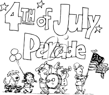 Royalty Free Clipart Image of a Fourth of July Parade