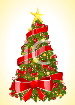 Royalty Free Clipart Image of a Christmas Tree Background