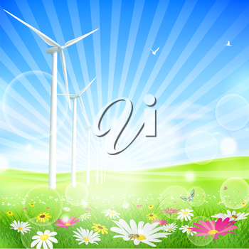 Royalty Free Clipart Image of a Wind Farm