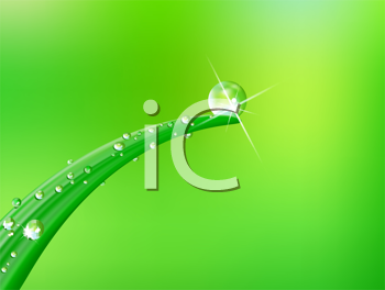 Royalty Free Clipart Image of a Green Leaf With a Globe on Green