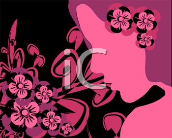 Royalty Free Clipart Image of a Pink Girl Silhouette With Flowers
