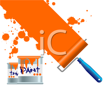 Royalty Free Clipart Image of Painting a White Space Orange