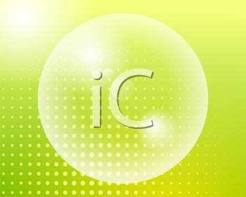 Royalty Free Clipart Image of a Transparent Bubble on a Green Dotted Background