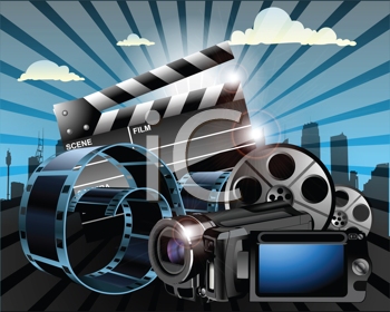 Royalty Free Clipart Image of a Movie Industry
