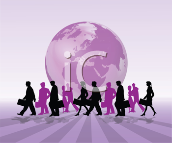 Royalty Free Clipart Image of Silhouetted Business People in Front of a Globe