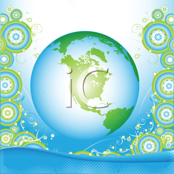 Royalty Free Clipart Image of an Earth Globe With Flowers
