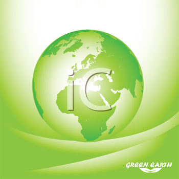 Royalty Free Clipart Image of a Green Earth on Green