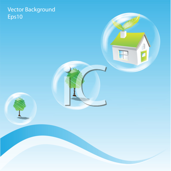 Royalty Free Clipart Image of a House and Trees in Bubbles