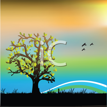 Royalty Free Clipart Image of a Landscape With a Tree and Birds