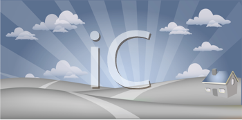 Royalty Free Clipart Image of a Grey and Blue Landscape