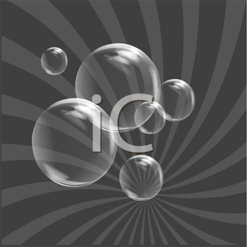 Royalty Free Clipart Image of Bubbles on a Grey Background