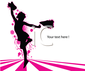 Royalty Free Clipart Image of a Cheerleader Silhouettes on Pink