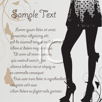 Royalty Free Clipart Image of a Silhouetted Legs on a Background With Space for Text