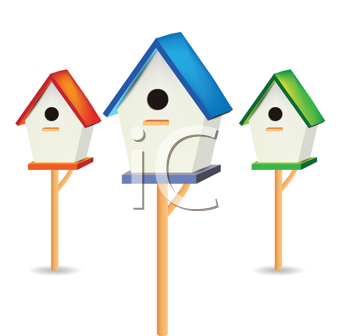 Royalty Free Clipart Image of Birdhouses