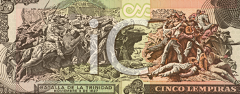 Royalty Free Photo of the Battle of La Trinidad on 5 Lempiras Banknote From Honduras