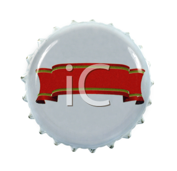Royalty Free Photo of a Bottle Cap With a Red Ribbon