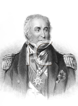 Royalty Free Photo of Charles John Napier (1786-1860) on engraving from the 1800s. Scottish naval officer whose sixty years in the Royal Navy included service in the Napoleonic Wars, Syrian War and th