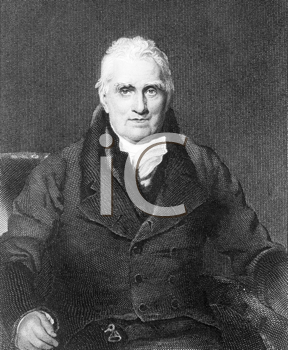 Royalty Free Photo of John Scott, 1st Earl of Eldon (1751-1838) on engraving from the 1800s. British barrister and politician. Engraved by H.Robinson after a painting by T.Lawerence and published by F