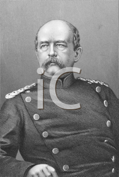 Royalty Free Photo of Otto von Bismarck (1815-1898) on engraving from the 1800s. Prussian German statesman and aristocrat