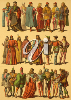 15th Century Italian Costumes on engraving from 1890 by Fr.Hottenroth.