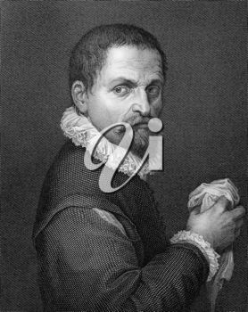 Francesco de' Rossi (Il Salviati) (1510-1563) on copper engraving from 1841. Italian painter. Engraved by A.Gabi from a drawing by E.Lapidis after a self portrait by Salviati.