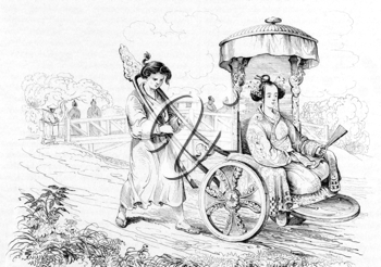 Japanese Lady in Chariot on engraving from 1834. Engraved by Beyer after a drawning by Louis Auguste de Sainson.