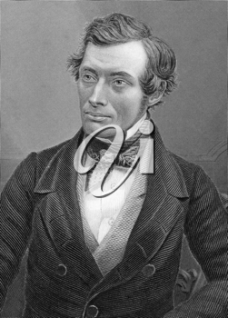 Thomas Graham (1805-1869) on engraving from 1800s. Scottish chemist. Engraved by C.Cook after a picture by Claudet and published by W.Mackenzie.