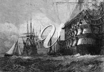 Big warship on engraving from 1865 after a drawing by J.M.W.Turner and published in the Illustrated London News.