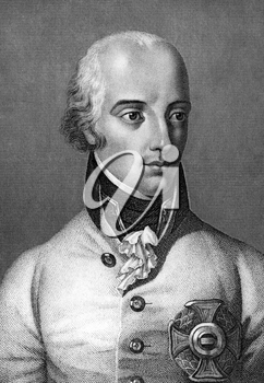 Archduke Charles, Duke of Teschen (1771-1847) on engraving from 1859. Austrian field-marshal. Engraved by unknown artist and published in Meyers Konversations-Lexikon, Germany,1859.