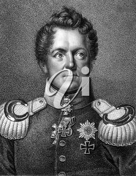 August Neidhardt von Gneisenau (1760-1831) on engraving from 1859. Prussian field marshal. Engraved by Falcke and published in Meyers Konversations-Lexikon, Germany,1859.