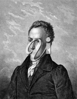 Bernhard von Lindenau (1779-1854) on engraving from 1859. German lawyer, astronomer, Minister and patron. Engraved by unknown artist and published in Meyers Konversations-Lexikon, Germany,1859.