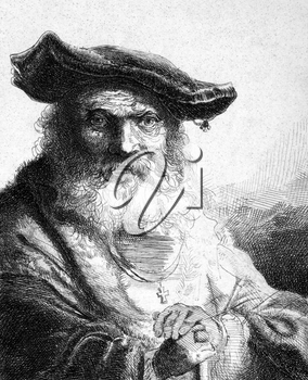 Ferdinand Bol (1616-1680) on engraving from 1859. Dutch artist, etcher and draftsman. Engraved by unknown artist and published in Meyers Konversations-Lexikon, Germany,1859.