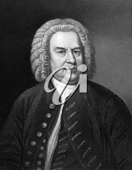 Johann Sebastian Bach (1685-1750) on engraving from 1857. German composer, organist, harpsichordist, violist and violinist. Engraved by C.Cook and published in Imperial Dictionary of Universal Biograp