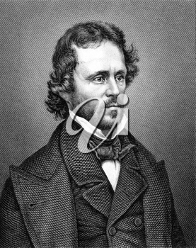 John Charles Fremont (1813-1890) on engraving from 1859. American military officer, explorer. Engraved by Nordheim and published in Meyers Konversations-Lexikon, Germany,1859.