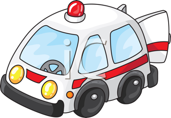 Royalty Free Clipart Image of an Ambulance With the Door Open