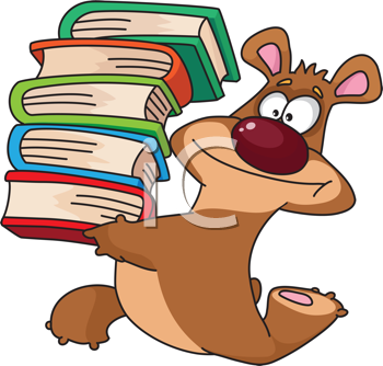 Royalty Free Clipart Image of a Bear With Books