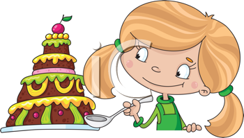 Royalty Free Clipart Image of a Girl With Cake