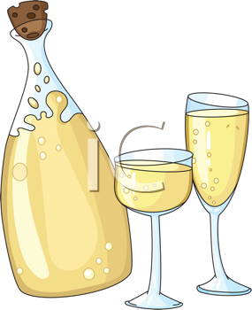Royalty Free Clipart Image of a Champagne Bottle and Glasses