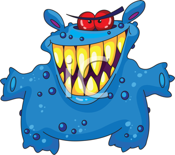 Royalty Free Clipart Image of a Laughing Blue Monster