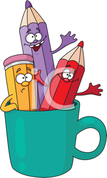 Royalty Free Clipart Image of Pencils in a Mug