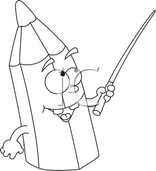 Royalty Free Clipart Image of a Pencil With a Pointer