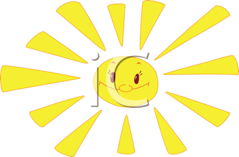 Royalty Free Clipart Image of a Bright Sun